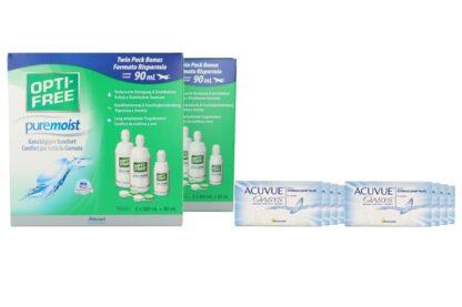 Acuvue Oasys 8 x 6 Zwei-Wochenlinsen + Opti Free Pure Moist Jahres-Sparpaket
