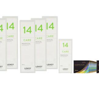 Air Optix Colors 12 x 2 farbige Monatslinsen + Lensy Care 14 Jahres-Sparpaket