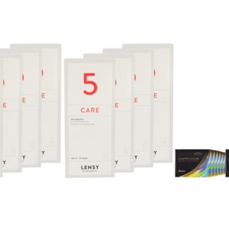 Air Optix Colors 12 x 2 farbige Monatslinsen + Lensy Care 5 Jahres-Sparpaket
