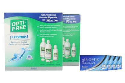 Air Optix plus HydraGlyde 4 x 6 Monatslinsen + Opti Free Pure Moist Jahres-Sparpaket