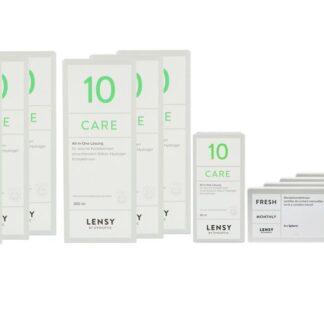 Lensy Monthly Fresh Spheric 4 x 6 Monatslinsen + Lensy Care 10 Jahres-Sparpaket