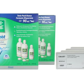 Lensy Monthly Smart Spheric 4 x 6 Monatslinsen + Opti Free Pure Moist Jahres-Sparpaket