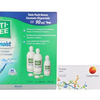 Proclear Toric 2 x 6 Monatslinsen + Opti Free Pure Moist Halbjahres-Sparpaket