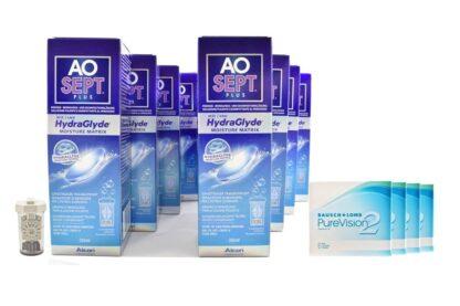 Pure Vision 2 HD 4 x 6 Monatslinsen + AoSept Plus HydraGlyde Jahres-Sparpaket