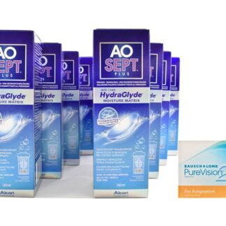 Pure Vision 2 HD For Astigmatism 4 x 6 Monatslinsen + AoSept Plus HydraGlyde Jahres-Sparpaket