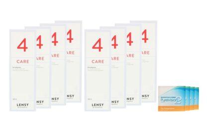 Pure Vision 2 HD For Astigmatism 4 x 6 Monatslinsen + Lensy Care 4 Jahres-Sparpaket