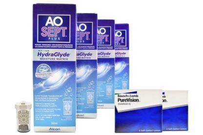 Pure Vision 2 x 6 Monatslinsen + AoSept Plus HydraGlyde Halbjahres-Sparpaket