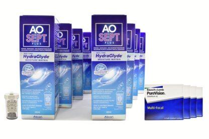 Pure Vision Multifocal 4 x 6 Monatslinsen + AoSept Plus HydraGlyde Jahres-Sparpaket