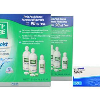 SofLens 59 4 x 6 Monatslinsen + Opti Free Pure Moist Jahres-Sparpaket
