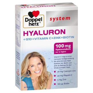 Doppelherz® system HYALURON + Q10 + Vitamine C + Zinc + Biotine