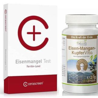 Eisenmangel Test (Ferritin-Level) Set plus 60 Kapseln Eisen-Mangan-Kupfer - schnell und bequem zu Ha