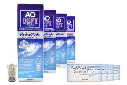 Acuvue Oasys for Astigmatism 4 x 6 Zwei-Wochenlinsen + AoSept Plus HydraGlyde Halbjahres-Sparpaket