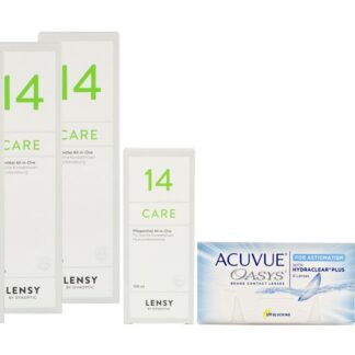 Acuvue Oasys for Astigmatism 4 x 6 Zwei-Wochenlinsen + Lensy Care 14 Halbjahres-Sparpaket
