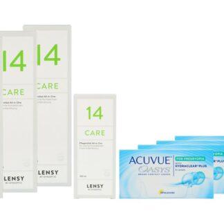 Acuvue Oasys for Presbyopia 4 x 6 Zwei-Wochenlinsen + Lensy Care 14 Halbjahres-Sparpaket