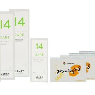 Menisoft S 4 x 6 Zwei-Wochenlinsen + Lensy Care 14 Halbjahres-Sparpaket