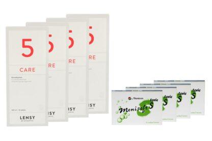 Menisoft S toric 4 x 6 Zwei-Wochenlinsen + Lensy Care 5 Halbjahres-Sparpaket